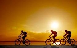 cycling at sunset